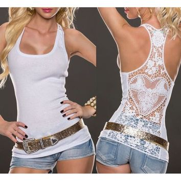 Women's Sexy Lace Back Tank Tops