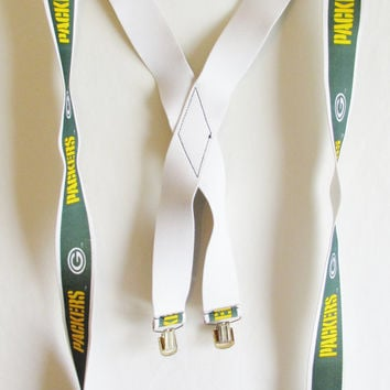 Vintage 1990's Retro Green Bay Packers Suspenders