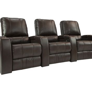 Octane Seating - Magnolia 3-Seat Straight Leather Home Theater Seating - Brown