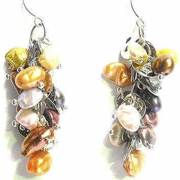 HUGE SALE! Sterling Silver Multi Color Keshi Pearl Chandelier Earrings Sterling Silver Keshi Pearl Dangle Earrings Keshi Pearl Jewelry