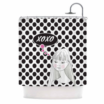 "Zara Martina Mansen ""XOXO Pop Art Polka Dot Girl"" Black White Shower Curtain"