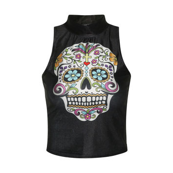 Beach Sexy Comfortable Hot Bralette Summer Stylish Hot Sale Skull Print Strong Character Slim Crop Top Vest [6049136961]