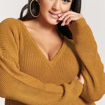 Plus Size Ribbed V-Neck Sweater