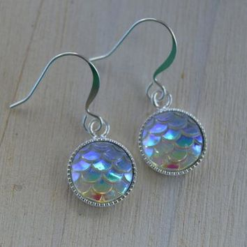 341ffc940 Mermaid Scales Dangle Earrings, Iridescent Fish Scale, Waves, Cr
