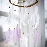 Lilac Boho Dreamcatcher Crib Mobile - Mint, White, Pink, Lavender, Wall Hanging Dream catcher, Nursery Mobile, Nursery Dream catcher, Dreams