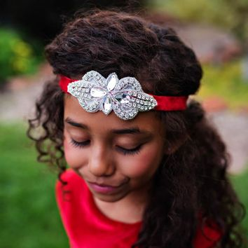 Red Vivienne Velvet Elastic Crystal Jewel Headband