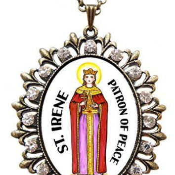 "St Irene Patron of Peace Huge 2 1/2"" Antique Bronze Gold Medallion Rhinestone Pendant with 4x6 Prayer Card Set"