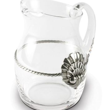Coquille Pewter Medallion Glass Pitcher