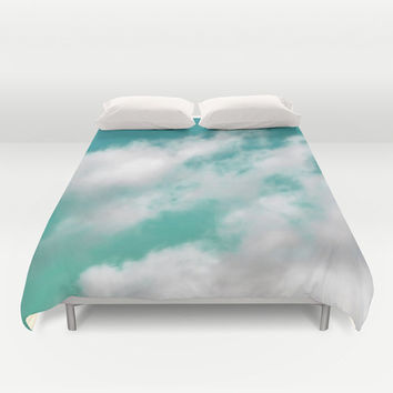 Mint Sky 3 - Duvet Cover, White Clouds & Blue Sky Bedding Blanket Throw Cover Accent. Boho Chic Bedroom Bed Cover. In Twin Full Queen King