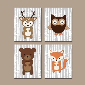 WOODLAND Nursery Art, Woodland Nursery Decor, Birch Tree Wall Art, CANVAS or Prints, Wood Forest Animals, Fox Bear Deer Owl, Set of 4