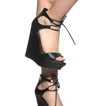 Black Faux Leather Lace Up Platform Wedges @ Cicihot Wedges Shoes Store:Wedge Shoes,Wedge Boots,Wedge Heels,Wedge Sandals,Dress Shoes,Summer Shoes,Spring Shoes,Prom Shoes,Women's Wedge Shoes,Wedge Platforms Shoes,floral wedges