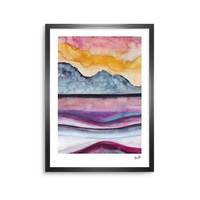 """Marco Gonzalez """"A 0 36"""" Multicolor Orange Abstract Nature Painting Mixed Media Framed Art Print"""