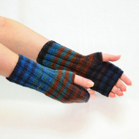 knit fingerless gloves knitting accessories hand warmers wrist warmers blue brown mittens