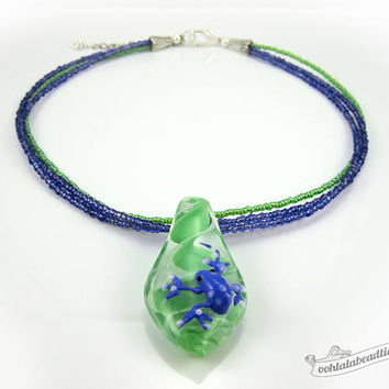 Blue frog necklace green choker lampwork necklace glass jewelry statement necklace glass pendant necklace murano glass bead necklace gift