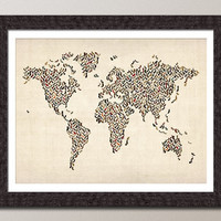 Ladies Shoes Map of the World Map Art Print on Etsy