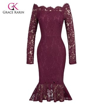 Grace Karin Short Evening Dress Elegant Off Shoulder Vestido Formal Gowns Mermaid Evening Party Lace Special Occasion Dress Prom