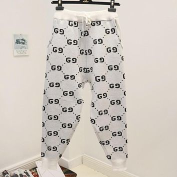 GUCCI Popular Women Loose Double G Letter Jacquard Drawstring Sport Stretch Pants Sweatpants White I12501-1