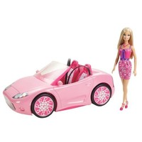 Toy / Game Barbie Glam Convertible and Doll Set - New 2012 Version w/ shiny metallic wheels & print interior