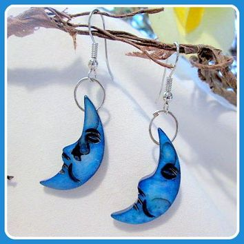 """Electric Blue"" Half Moon Earrings"