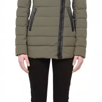 Mackage - TABITA KHAKI LIGHT SPRING DOWN JACKET WITH LEATHER TRIM FOR WOMEN