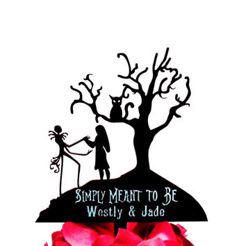 Custom engraved Jack and Sally with tree and Cat Cake Topper