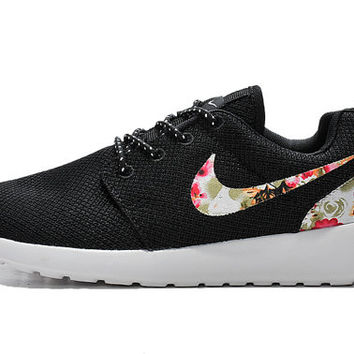 custom nike roshe run sneakers athletic sport womens shoes black color with fabric floral