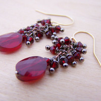 Dainty Garnet Swarovski Crystal Cluster Gold Filled Dangle Wire Wrapped Earrings / Gift for Her