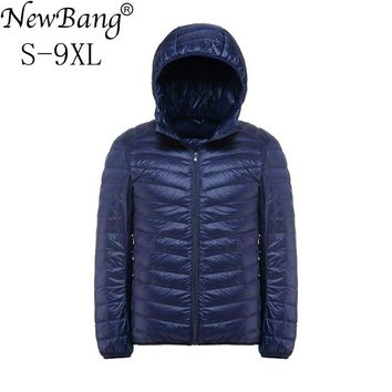 NewBang Brand Plus 9XL 8XL 7XL Down Coat Male Ultra Light Down Jacket Men Windbreaker Feather Portable Lightweigt Winter Parka
