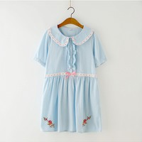[$14.00]Peter Pan Collar Loose Dress by June's Seaweed