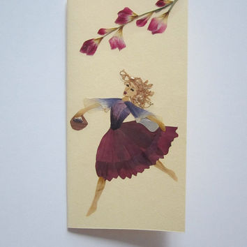 "Handmade unique greeting card ""Goodbye gravity"" - Decorated with dried pressed flowers and herbs - Original art collage."