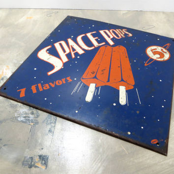 Vintage Meta Sign Space Pops Mummert Sign Blue and Orange Space Age Decor Space Decor Outer Space Sign Sci Fi Decor Sputnik Decor