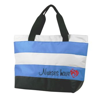 Nurse Tote Bag Blue Embroidered Nurses Have Heart Think Medical 01703