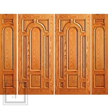 Prehung Entry Mahogany Moulding 8 Panel Double Door Two Sidelites