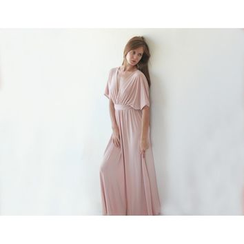 Pink Blush Batwing Sleeve Bridesmaids Maxi Dress 1002