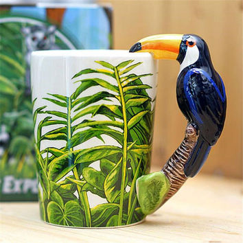 New Animal Hornbill Ceramic Mug 3D Hand Painted Mug Coffee Cup Decorative Gift
