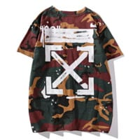 Off White New fashion arrow cross print camouflage top t-shirt