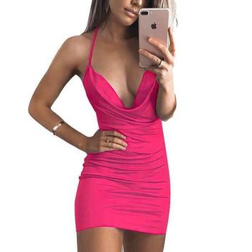 Women's Sexy Hot Pink V Neck Spaghetti Strap Cocktail Dress