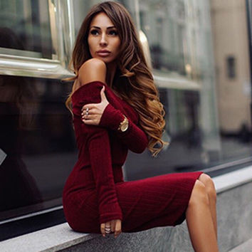 Long Sleeve Women's Fashion Wrap One Piece Dress [9052506564]