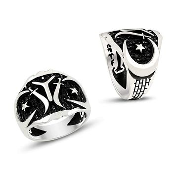 IYI monogram swords with crescent star 925k sterling silver mens ring