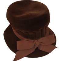 1960s Brown Velvet Tall Hat by Fashion Guild, Hat Size 20.5