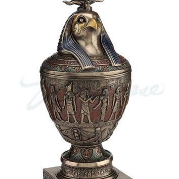Horus Falcon Egyptian Canopic Jar with Triple Atef Crown Removeable Cover 13.75H