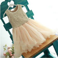 2015 Girls Summer Sequined Tutu Dresses Kids Princess Sleeveless yarn Dress.