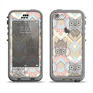 The Vintage Abstract Owl Tan Pattern Apple iPhone 5c LifeProof Nuud Case Skin Set
