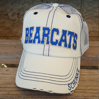 Personalized baseball team hat, baseball mom hat royal blue and white on mesh trucker caps you customize with your team name and colors