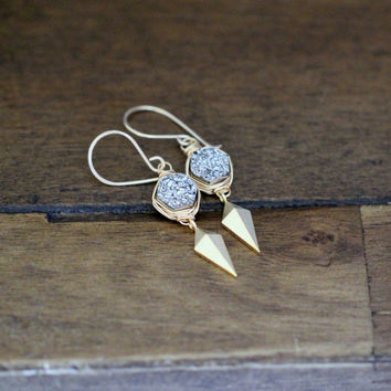Stiletto Hexagon Earrings - Platinum