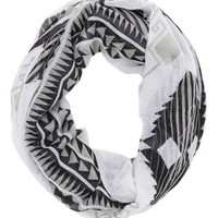 Black Combo Aztec Print Infinity Scarf by Charlotte Russe