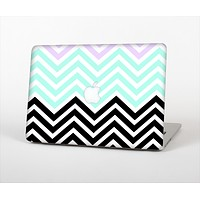 The Light Teal & Purple Sharp Black Chevron Skin Set for the Apple MacBook Pro 15""