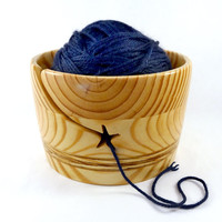 Handmade Wood Yarn Bowl, LARGE, Star Groove, for Knitting or Crochet.