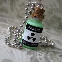 Radioactive Glow in the Dark Glass Vial Necklace - 1ml Cork Glass Bottle Pendant - Glowing Danger Toxic Poison Charm