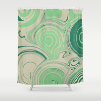 Spiraling Green Shower Curtain by sm0w
